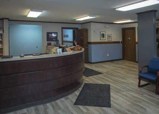 The front reception area of the office